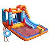 MEIOUKA Rocket Inflatable Bounce Castle Jumper Bouncer House with 450W Blower, Inflatable Pool