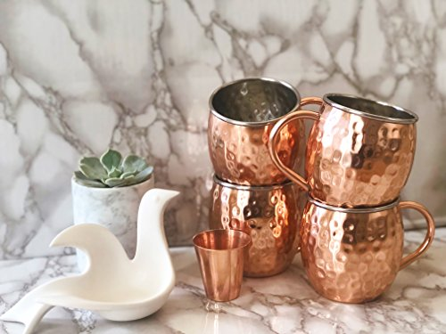 Gift Wrapped Set of 4 Moscow Mule Copper Mugs with Stainless-Steel Lining | Large Gift Box Includes 4 Double Wall Copper Mugs, Shot Glass & Cocktail Recipe Book | Premium, Hammered, Heavy-Duty Cups by Urban Vintage LA (Image #1)