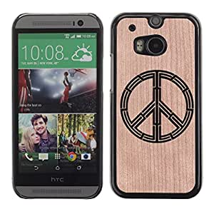 // MECELL CITY PRESENT // Cool Funda Cubierta Madera de cereza Duro PC Teléfono Estuche / Hard Case for HTC One M8 /// Hippie Hippy Sign Peace Tag ///