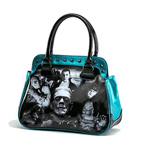 Universal Monsters Blue Glitter Black & White Monster Collage Handbag -