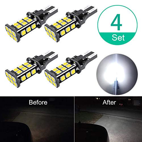 UPGRADED 912 921 W16W LED Backup Light Bulbs 3200 Lumens Extremely Bright Error Free 3030 24-EX Chipsets LED Bulbs for Back Up Lights Reverse Lights, 6000K Xenon White (Pack of 4)