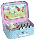 Jewelkeeper 15 Piece Kids Pretend Toy Tin Tea Set & Carry Case