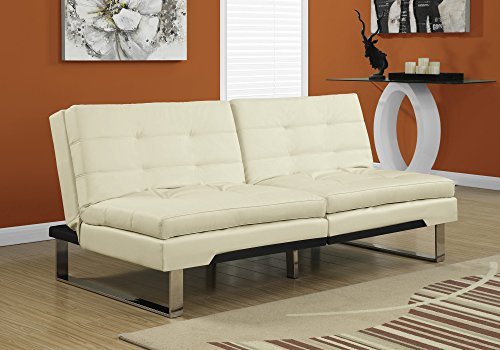 Contemporary Ivory Leather Sofa - Monarch Specialties Split Back Click Clack Futon, Leather Look, Ivory