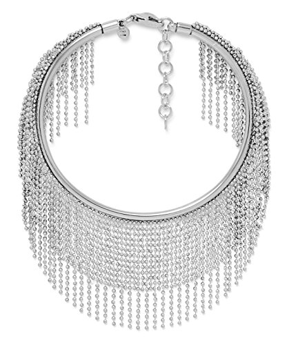 Italian 7+1 Inch Ext. Rhodium Plated Sterling Silver Flex Cuff, 135 Dangling Beaded Strands