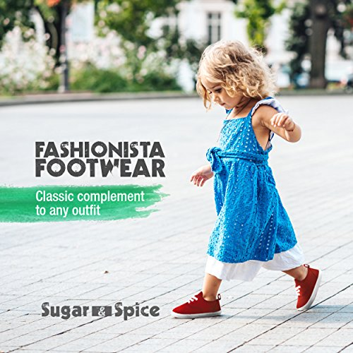Sugar & Spice Fashion Canvas Sneakers, Girls Boys Youth Toddlers Kids, Lace up Red (V2)