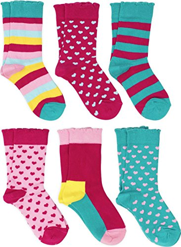 Hanna Andersson Sizes (Lucky & Me Sonya Girls Socks, 6 Pairs, Combed Cotton, Crew Length, Bright, Size 11-13)