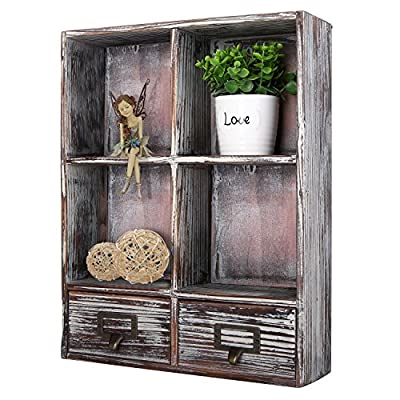 MyGift Rustic Torched Wood Wall Mounted Shadow Box w/Cubby Shelving, 2 Drawers and Label Holders, Dark Brown - A freestanding storage and display rack made of wood with a rustic-style torched wood finish. Features 4 square cubby-style shelves and 2 slide-out drawers. Perfect for organizing your home or office and adding rustic style to any space. - wall-shelves, living-room-furniture, living-room - 51w0M%2BTkSML. SS400  -