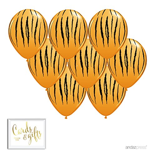 Andaz Press Printed Latex Balloon Party Kit with Gold Cards & Gifts Sign, Tiger Stripes, 8-Pk, Jungle Safari Baby Shower Birthday Decorations