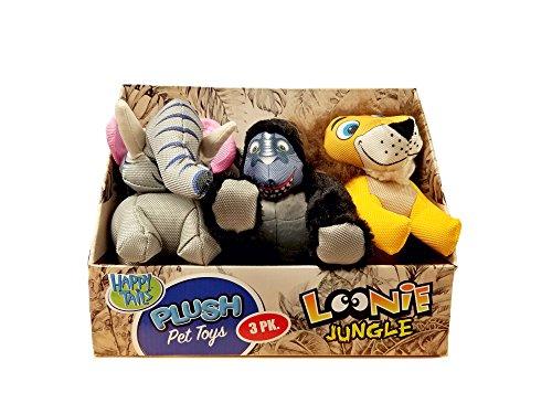 Happy Tails Plush Pet Toys Dog Plush: Loonie Jungle - 3 Pk.