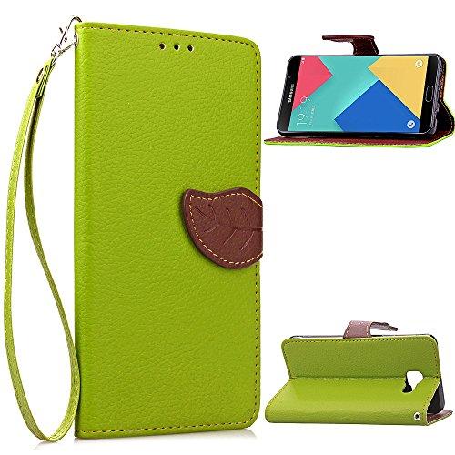 JIALUN-Personality teléfono shell Funda Samsung A9, funda de cuero de la PU Funda de silicona suave Funda de la cartera Patrón de la hoja Funda de soporte magnético Flip para Samsung A9 Seguridad y Mo Green