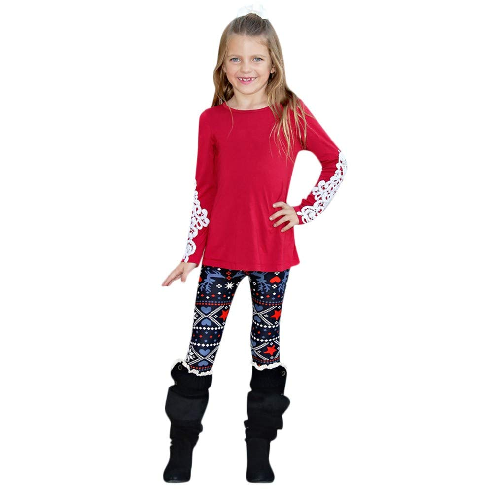 AKwell Mom and Me Christmas Reindeer Pattern Leggings Pants Parent-Child Clothes