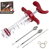 Ofargo Plastic Marinade Injector Syringe with Screw-on Meat Needle for BBQ Grill, 1-oz, Red, Recipe E-Book (Download PDF)