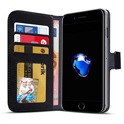eFabrik Bookstyle Case für Apple iPhone 8 Plus / iPhone 7 Plus Schutzhülle Schutz Tasche Hülle Book Cover Aufsteller Innenfächer Leder-Optik schwarz