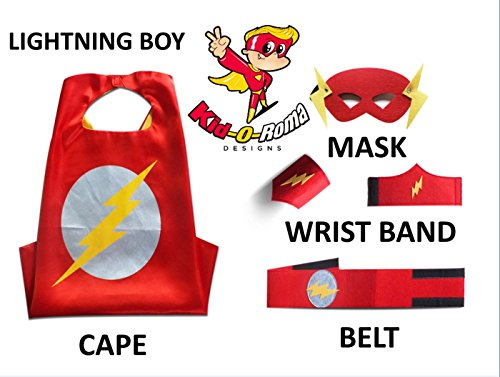 SuperHero Capes for Children Red Costume Boy Capes 5 Piece Set Fits Ages 4-10-Kid-O-Roma Designs (Lightning Boy)