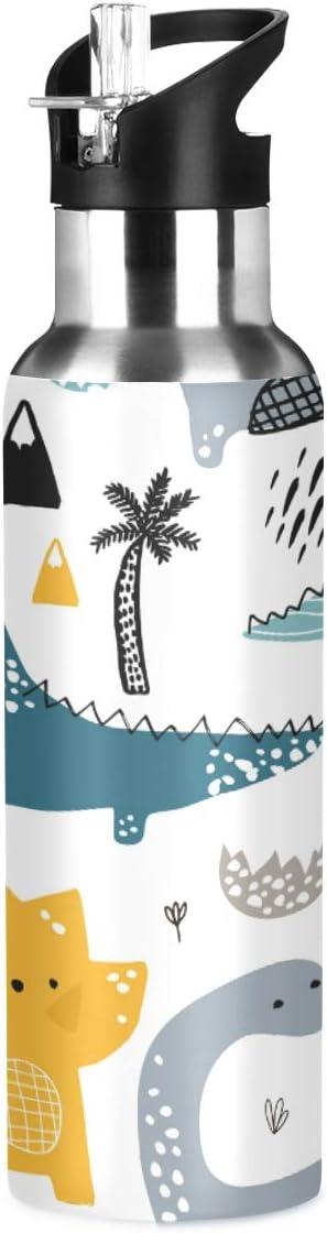 Botella de agua de acero inoxidable con pajita, con diseño de unicornio de dibujos animados, botella de agua deportiva para niños adultos, a prueba de fugas, 600 ml