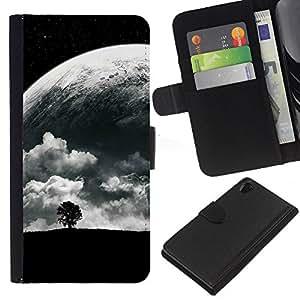 Stuss Case / Funda Carcasa PU de Cuero - Árbol solo y Luna - Sony Xperia Z2 D6502
