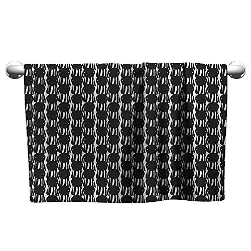 Style Towel Octopus,Abstract Retro Style Silhouettes Marine Monster Characters Simplistic Design, Black and White,Rustic Towel Racks for Bathroom