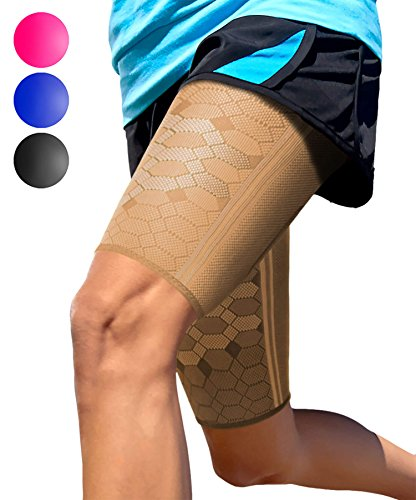 Sparthos Thigh Compression Sleeves (Pair) - Quad and Hamstring Support - Upper Leg Sleeves for Men and Women - Made from Innovative Breathable Elastic Blend - Anti Slip (Small, Desert Beige)