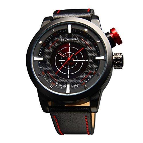 Globenfeld Heligraph Men\'s Fashion Wrist Watch - Minimalist Aviation Inspired Design with Genuine Leather Strap & Radar Stopwatch Function- 60 Day