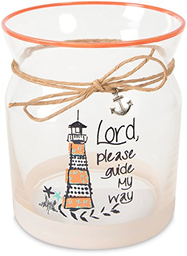 Lord Glass Candle Holder - Pavilion - Lord, Please Guide My Way - Beach Themed 4 Inch Glass Candle Holder with Light House