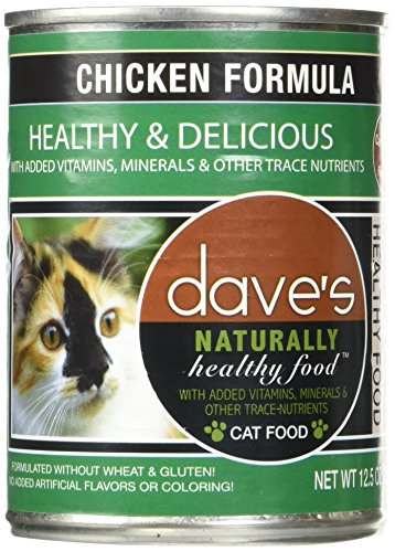 (Dave's Naturally Healthy Chicken Formula For Cats - Canned Cat Food - 12.5 Ounce Cans, Case of 12)
