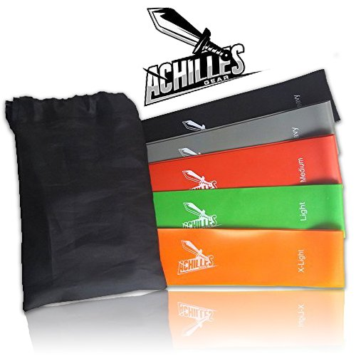 Achilles Gear Latex Resistance Bands Set of Varied Resistances for Yoga, Pilates, Therapy, Strength Training, and Fitness