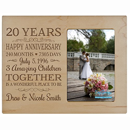 Personalized Twenty year anniversary gift for her him couple Custom Engraved wedding gift for husband wife girlfriend boyfriend photo frame holds 4x6 photo by LifeSong Milestones (maple) - Anniversary Year Photo Holder