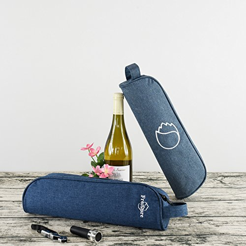Freshore Insulated Single Wine Tote Bag Carriers For Cooler Restaurant As Gift - Firmly Store Corkscrew (Gray Blue) by Freshore (Image #5)'