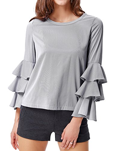 Layered Look Stripe Shirt (Women's Pinstripe T-shirts Ruffled Sleeves Blouse Tops (XL,Black Striped))
