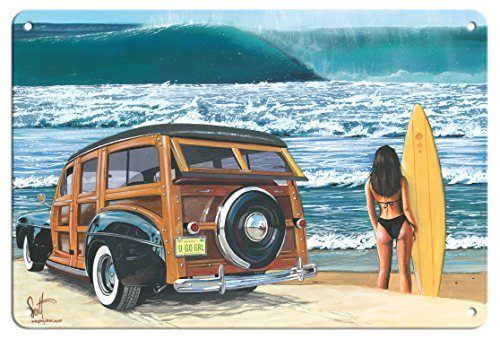 Pacifica Island Art 8in x 12in Vintage Tin Sign - U Go Girl - Retro Woodie Car on Beach with Surfer Girl by Scott -
