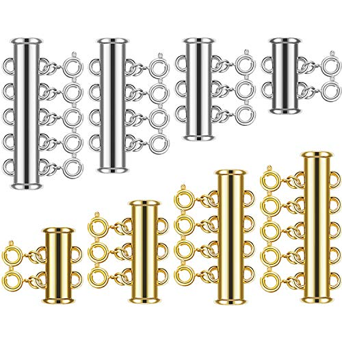 8 Set 4 Sizes Slide Tube Lock Necklace Spacer Clasp Multi Strands Magnetic Tube Lock Necklaces Bracelet Connectors for Jewelry, 64 Pieces (Gold, Silver) (4 Strand Bracelet)