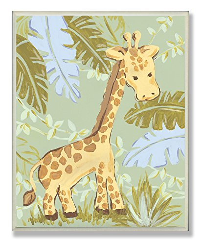 (The Kids Room by Stupell Giraffe in the Jungle Rectangle Wall)