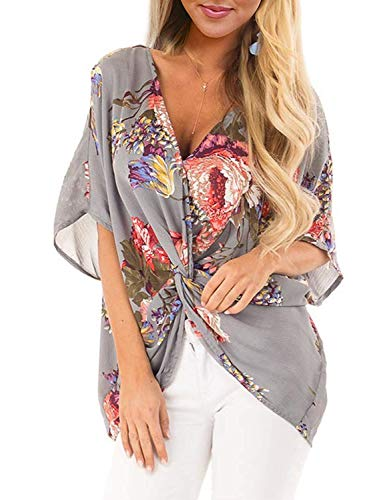 - Koscacy Blouses for Women Fashion 2019, Girls Oversize Tropical Shirts Teens Print Short Flutter Sleeve Tees Ladies Ruched Tie Front Tops Lightweight Unique Picnic Asymmertrical Daily Wear Grey 2XL