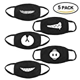 Htianc Face Mouth Mask 5 Pack Unisex Cotton Anti-dust Fashion Health Mask 5 Different Patterns