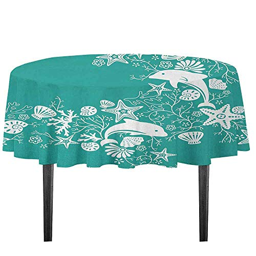 kangkaishi Sea Animals Printed Tablecloth Dolphins Flowers Sea Life Floral Pattern Starfish Coral Seashell Wallpaper Desktop Protection pad D59.05 Inch Sea Green White