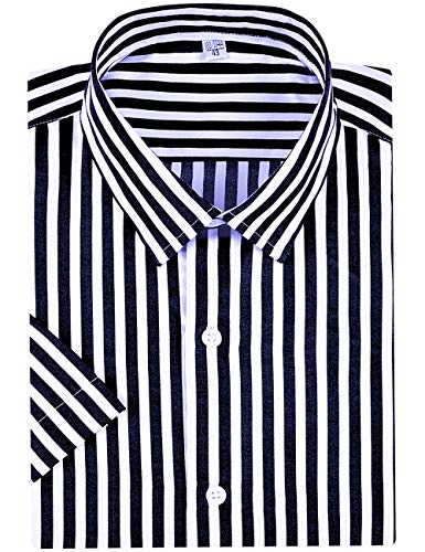 DOKKIA Men's Business Short Sleeve Vertical Striped Dress Shirts (Black White, Large) ()
