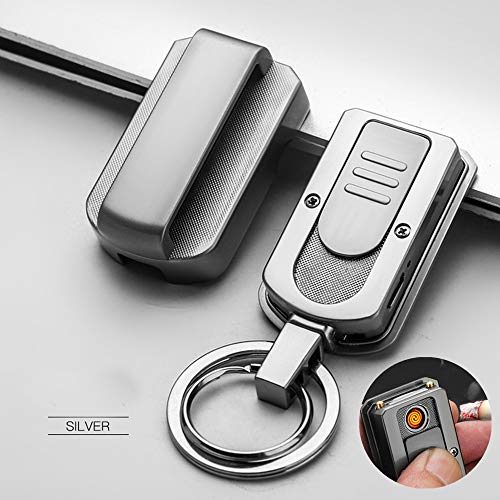 Keychain Rechargeable Lighter with Magnet Buckle, Flameless Windproof Electronic Cigarette Lighter with USB Charging Cable & 2 Key Rings, Multi-Kinetic Energy Waist Hanging Belt Key Chain (Silver)