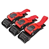 Pull Buckle - SODIAL(R) 3x Plastic Motorcycle Helmet Speed Clip Chin Strap Quick Release Pull Buckle New Black+Red