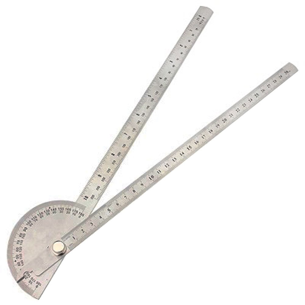 Cacys Store - 0-180 Degree Angle Finder Rotary Ruler Round Head Dual Arm Protractor Adjustable Stainless Steel Measuring For Woodworking Tool by Cacys Store (Image #3)