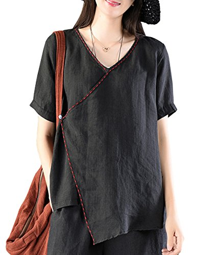 Embroidery Chinese Handkerchiefs (YESNO EB0 Women Casual Loose Cropped Tops Blouse 100% Linen Embroidery Chinese Traditional Frog Handkerchief Hem Short Sleeve)