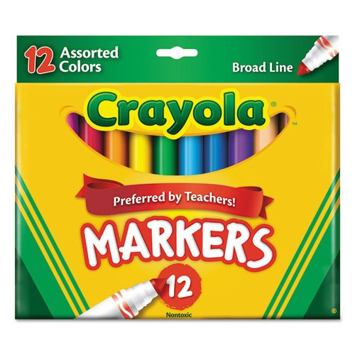 Crayola Products - Crayola - Non-Washable Markers, Broad Point, Classic Colors, 12/Set - Sold As 1 Set - An arts and crafts essential. - Classic, long-lasting, durable markers lay down lots of brilliant color, yet don't bleed through. - Water-soluble and water-based ink. ()