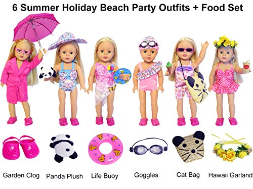 27-Piece 18 inch Doll Clothes and Accessories - American Summer Holiday Beach Party Swimsuit Sets & Bathrobe Bathing Suit Fits for 18 inch Girl Dolls by Festar