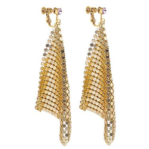 Long Dangle Rhinestone Clip on Earrings Trendy Women Metal Mesh Grid Sequins Tassel Long Drop Gold-tone