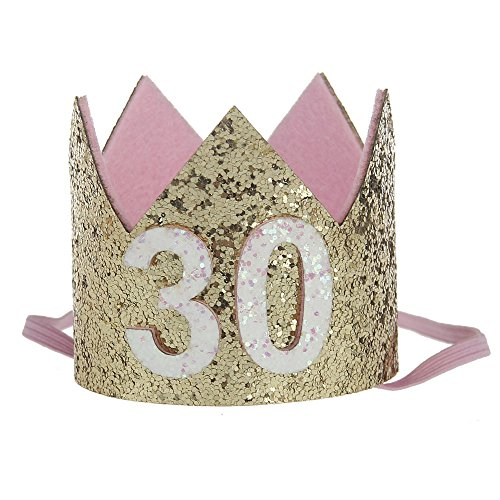 Floral Fall 20th 21st 30th Birthday Crown Golden Adult Thirty Flirty birthday Party Hat HG-03 (Gold 30)