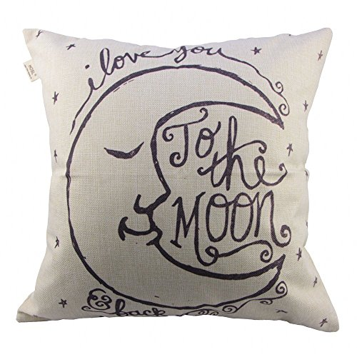 """HOSL P26 Cotton Linen Thow Pillow Case Vintage Decorative Cushion Cover - I Love You to the Moon and Back 18 """"X18 """""""