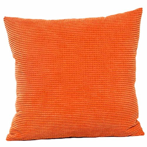 Corduroys Vintage Cotton (MIARHB Ruhiku GW Throw Pillow Covers Cases for Couch Sofa Bed, Comfortable Supersoft Corduroy Corn Striped Both Sides (Orange, 18 × 18 Inch))