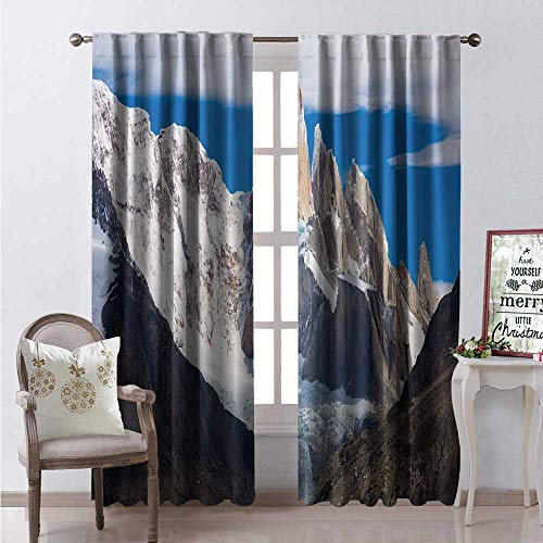 Hengshu Argentina Waterproof Window Curtain Picturesque Views of Snow Capped Mountain Peaks and Glaciers of Cerro Chaltel Decorative Curtains for Living Room W84 x L108 Multicolor