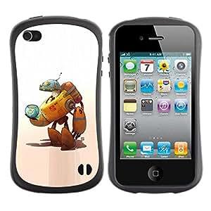 "Pulsar iFace Series Tpu silicona Carcasa Funda Case para Apple iPhone 4 / iPhone 4S , Robot extranjero del gato Art Space Ship Fish Bowl"""