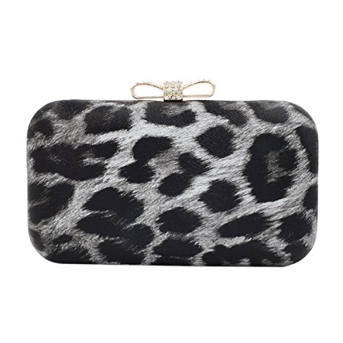 Elegant Leopard PU Leather Crystal Bow Top Hard Clutch, Grey by TrendsBlue (Image #1)