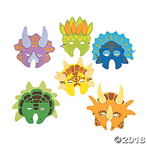 Kidville 1 Dozen Foam Dinosaur Masks, Party Favors for Children (12 Dinosaur Masks) -